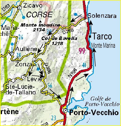 Carte Corse Solenzara.Circuits A Bavella En Corse Du Sud